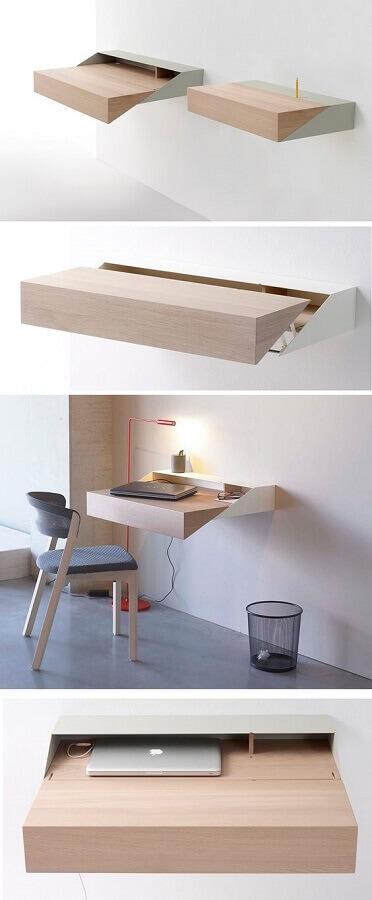 decoração minimalista para home office com marcenaria planejada