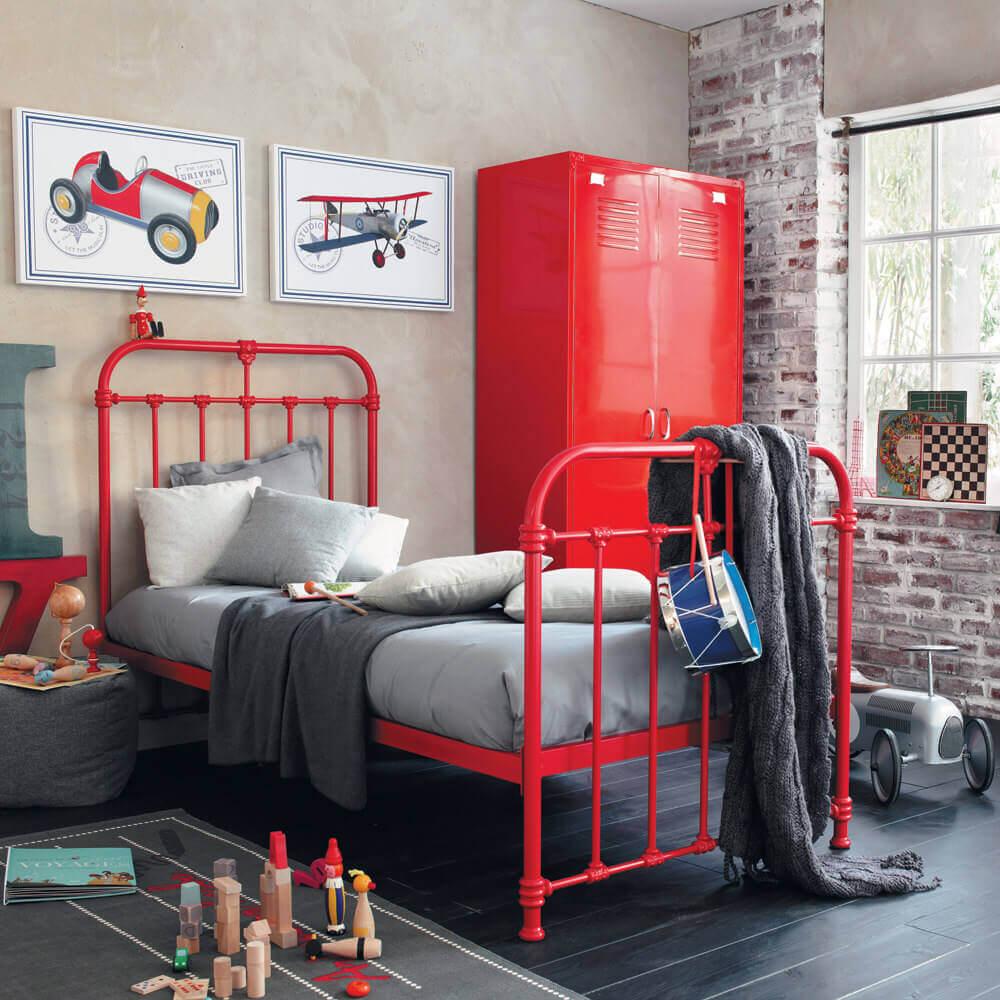 decoração moderna e industrial para quarto vermelho e cinza