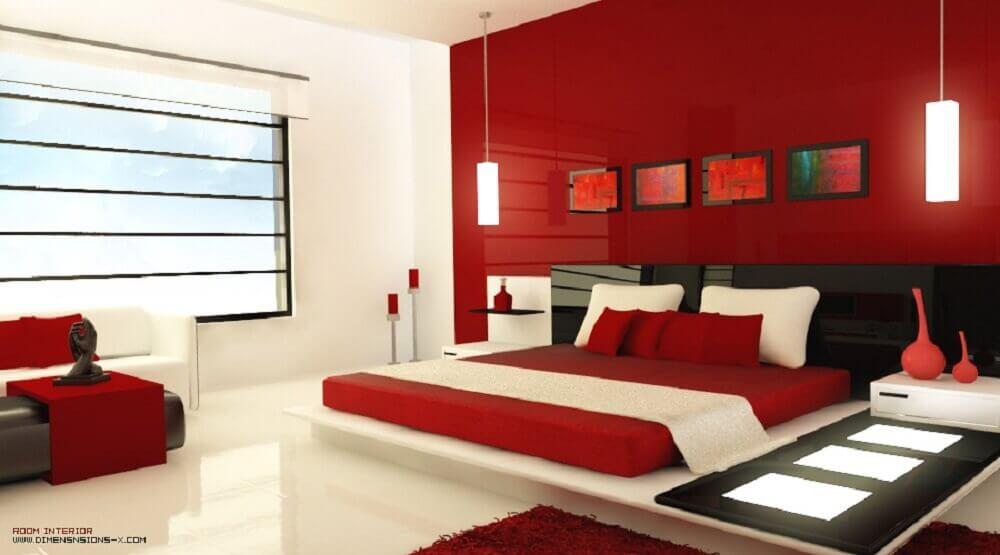 decoração moderna para quarto com parede vermelha e cabeceira preta - Foto Interior Design Ideas