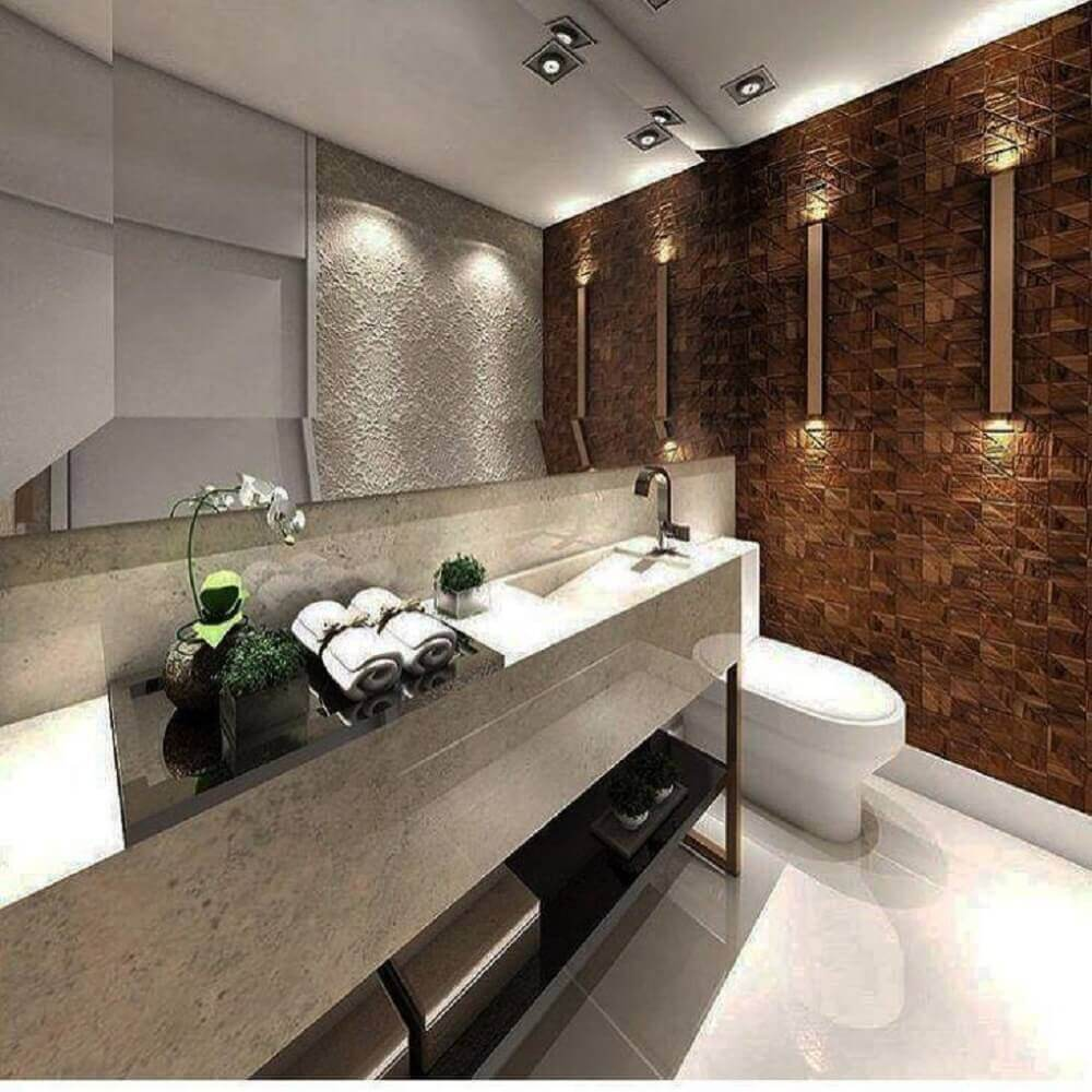 decoração para banheiro com papel de parede e pia esculpida em granito Foto Imagine Você Aqui