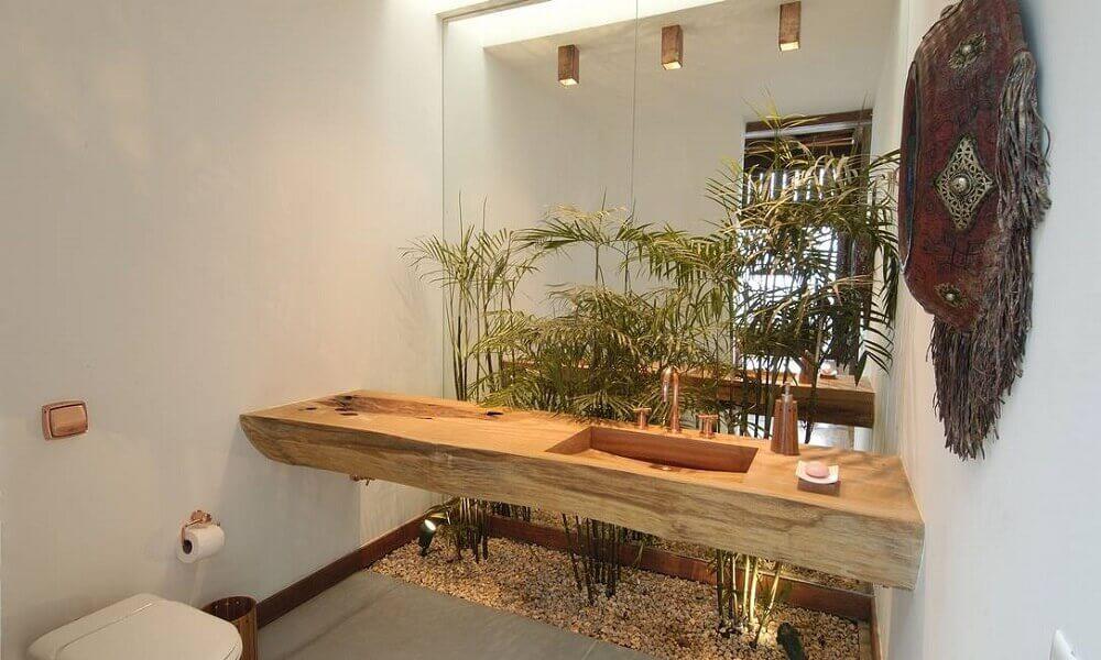 decoração para lavabo com pia esculpida e pequeno jardim Foto Laiki mainās!