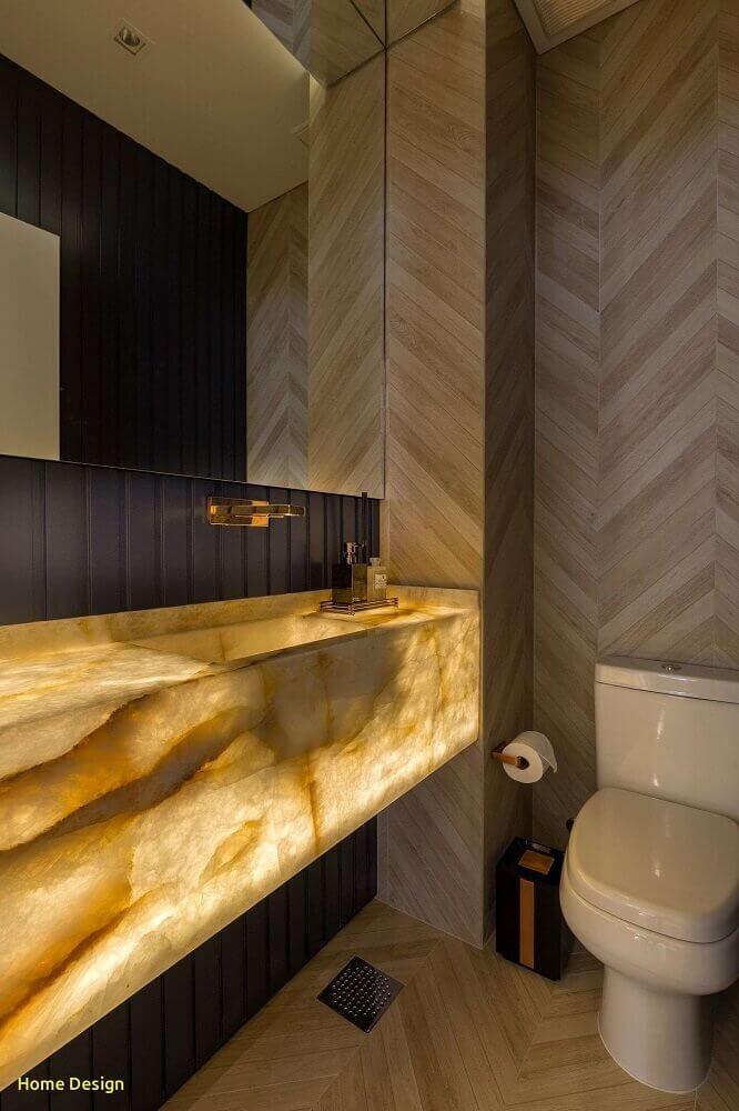 decoração para lavado bom cuba esculpida e parede com revestimento de madeira Foto Home Design