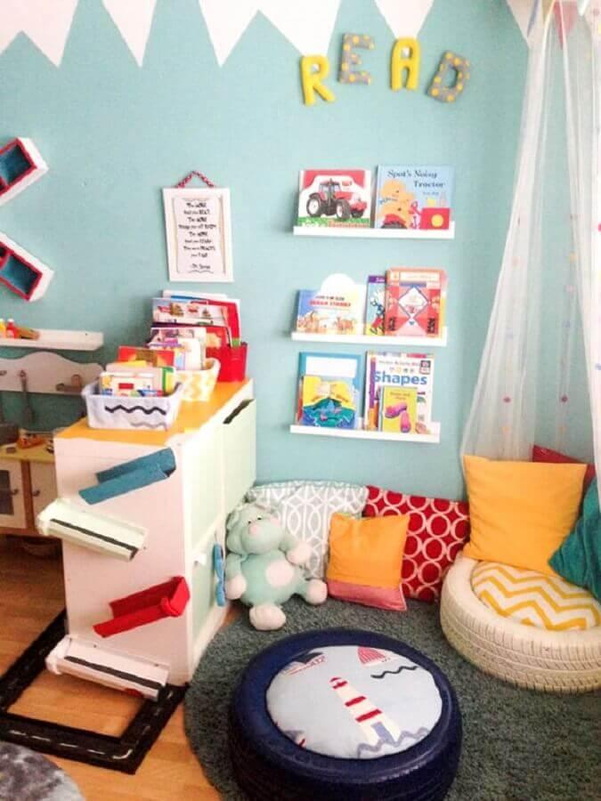 decoração para quarto infantil decorado com puff feito com pneu velho