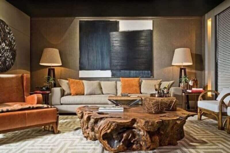 decoração rustica para sala com mesa de centro de madeira de demolição