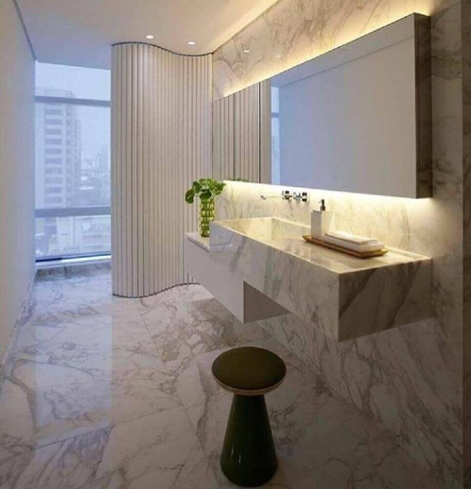 decoração sofisticada com pia esculpida em mármore Foto Decor and Fun