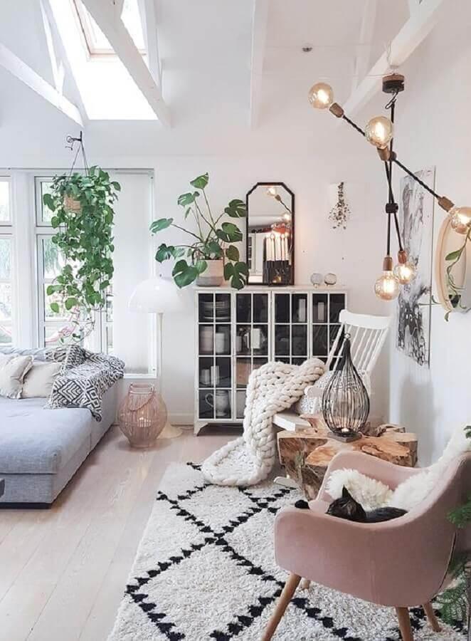 delicada decoração para sala com estilo hygge Foto Decora em Família