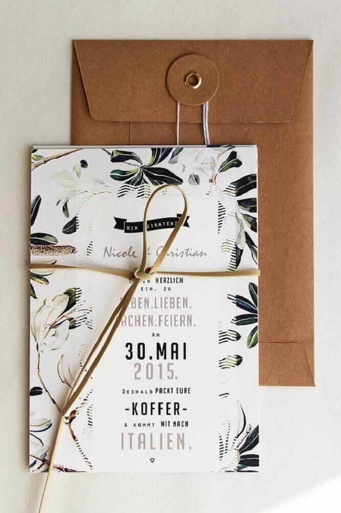 detalhe em couro para convite simples de casamento