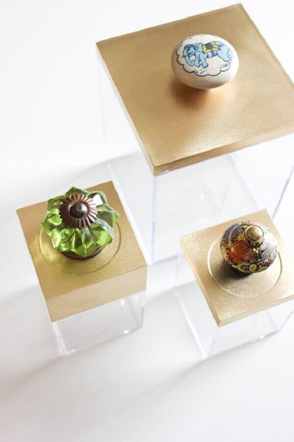 diferentes puxadores para tampa de caixa decorativa de acrílico Foto Pinterest