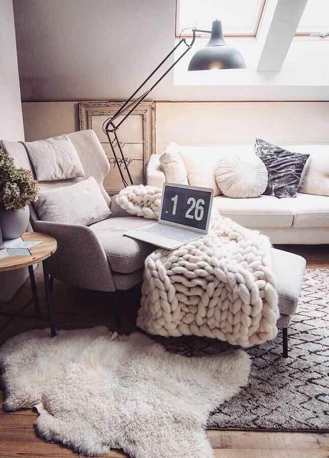 estilo hygge para decoração de sala com maxi trico Foto Revista Artesanato