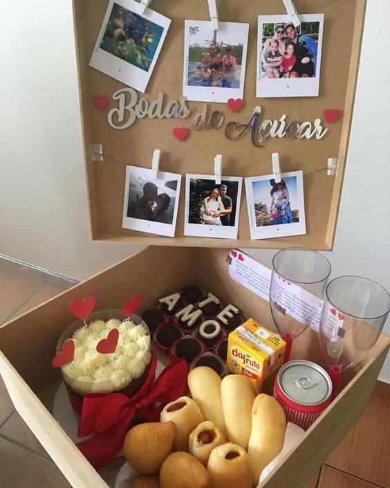 festa na caixa para bodas de açúcar