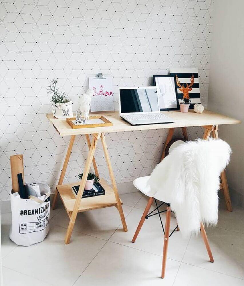 home office com decoração hygge Foto Morando com Amor