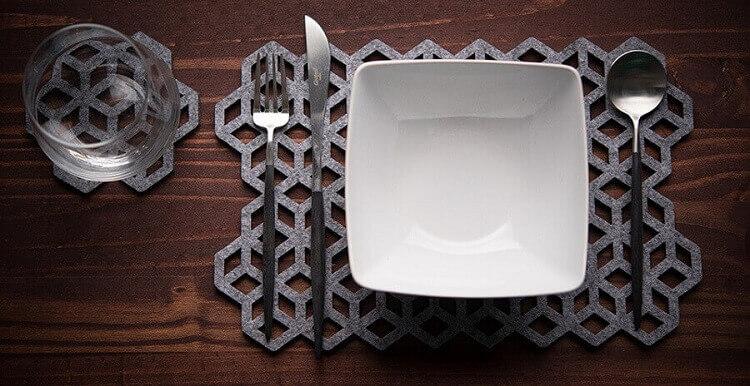 jogo americano moderno de artesanato em feltro