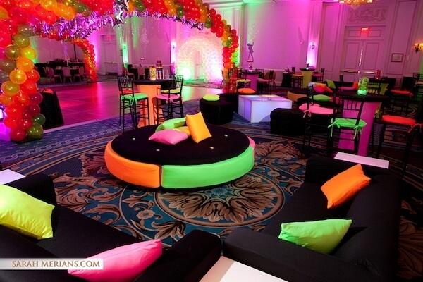 Decoração especial para festa neon