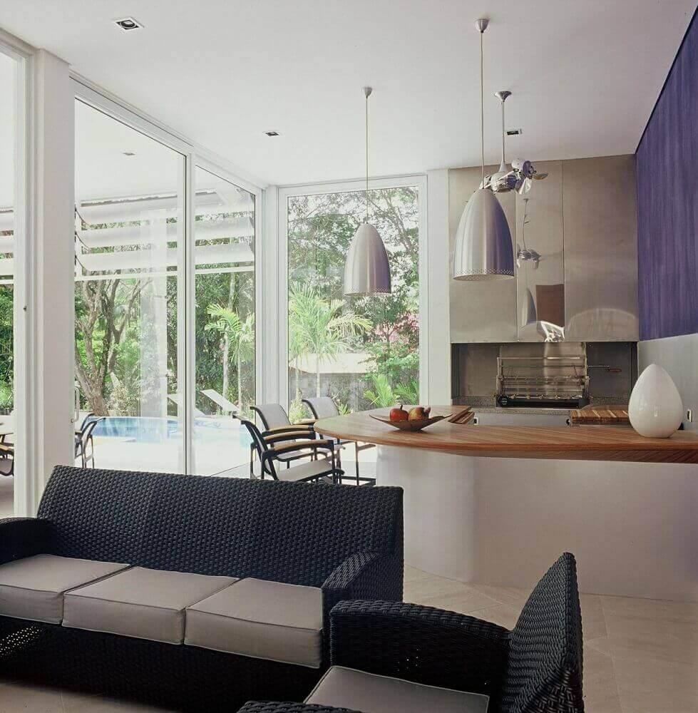 móveis de vime para varanda com sofá de vime preto Foto Graciela Pinero