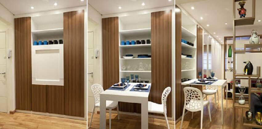 marcenaria planejada para sala de jantar com mesa dobrável e prateleiras