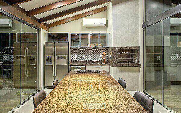 mesa para sala de jantar em granito bege