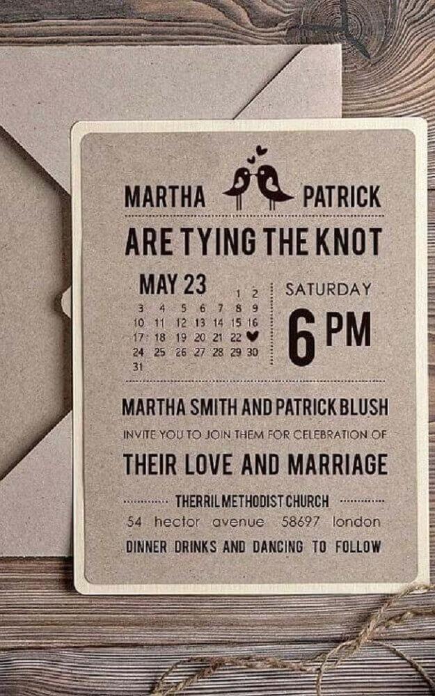 modelo convite de casamento simples feito com papel reciclável