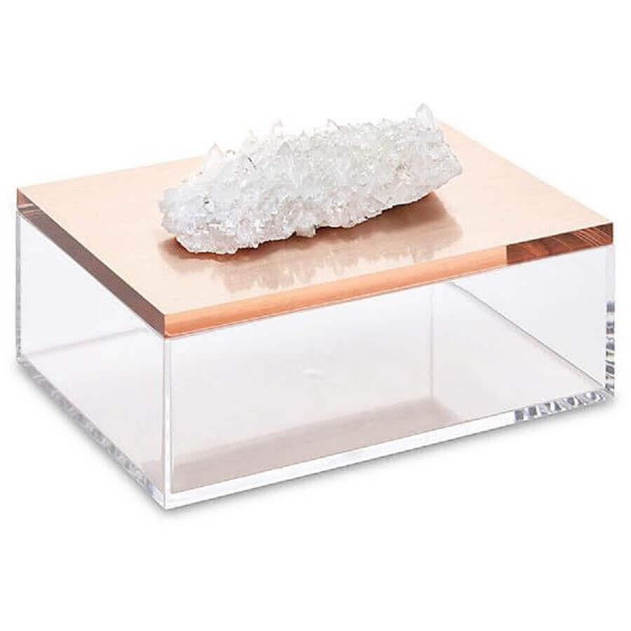 modelo de caixinha de acrílico com pedra sobre a tampa para puxador Foto Pinterest