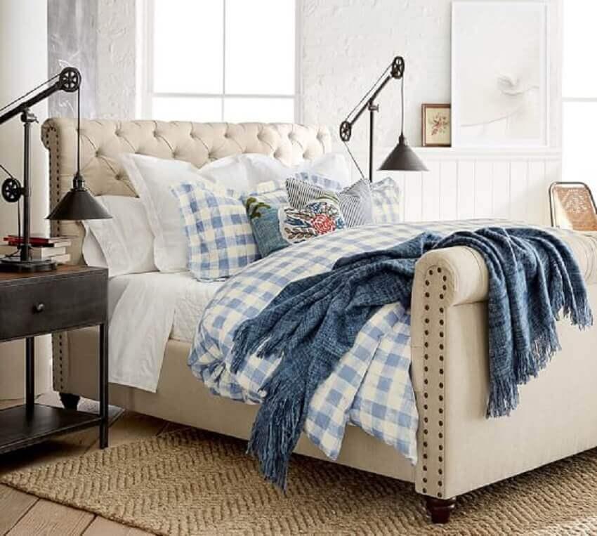 modelo de cama com cabeceira capitonê bege- Foto epatriots