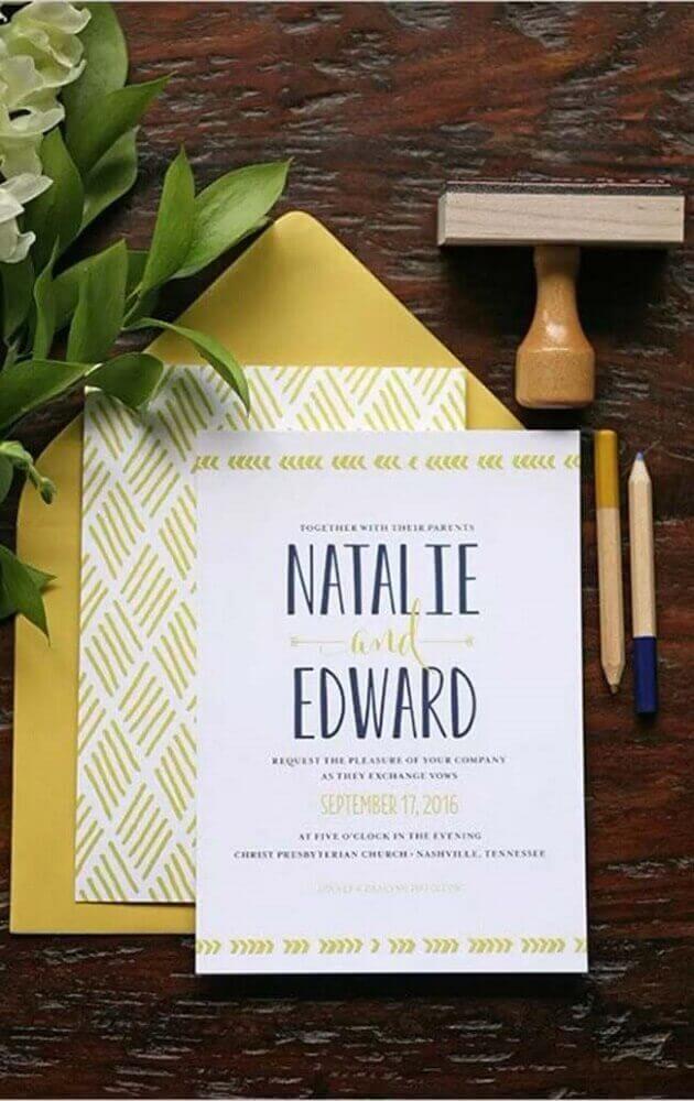 modelo de convite de casamento simples