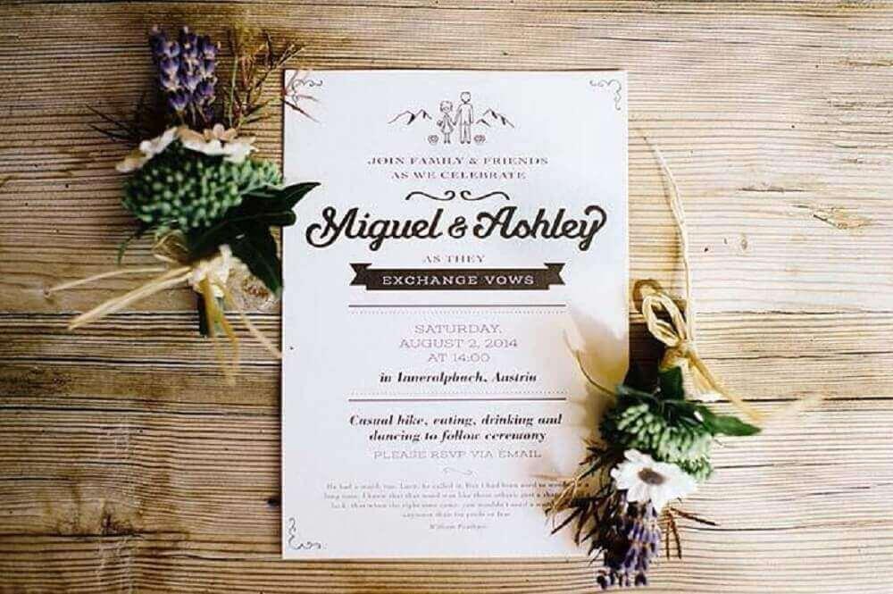 modelo de layout para convite simples de casamento
