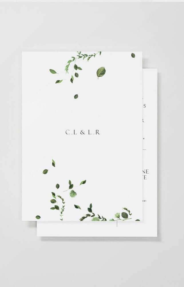 modelo minimalista para convite simples de casamento