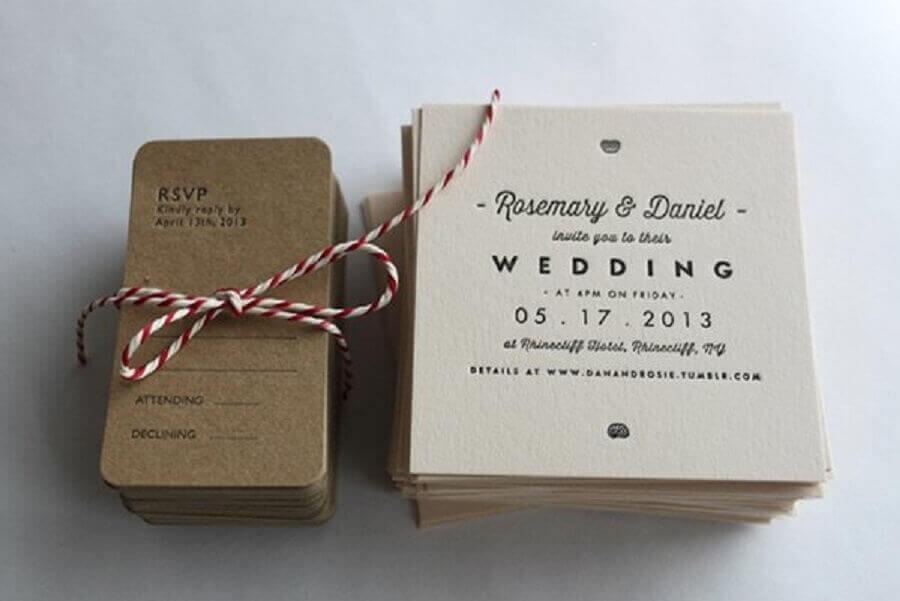 modelo simples de convite de casamento