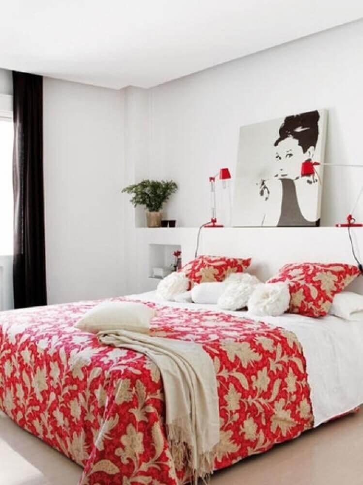 quarto vermelho e branco decorado - Foto Mobilya Günlüğü