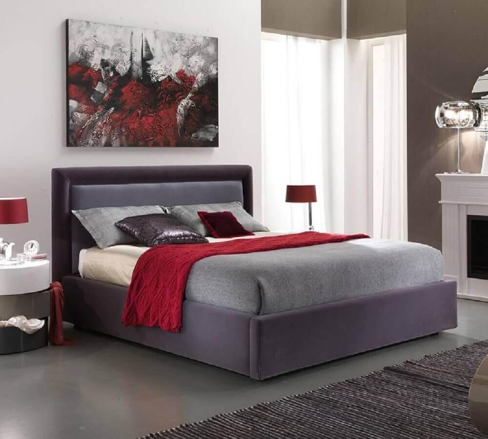 quarto vermelho e cinza - Foto Pinterest