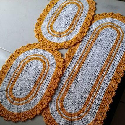 tapete de crochê para cozinha - jogo de tapetes laranjas
