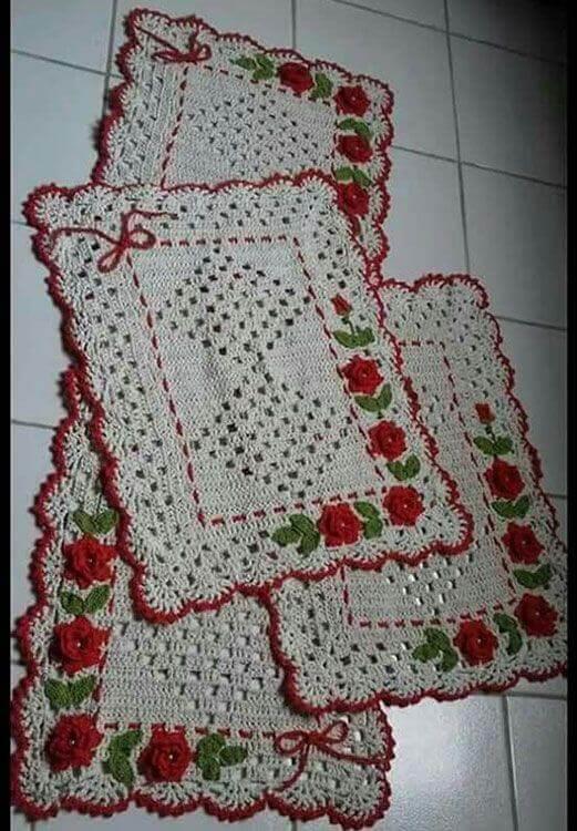 tapete de crochê para cozinha - tapete branco e vermelho