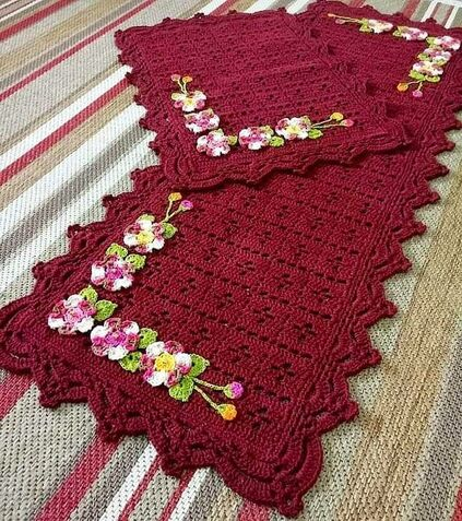 tapete de crochê para cozinha - tapete com carreira de flores