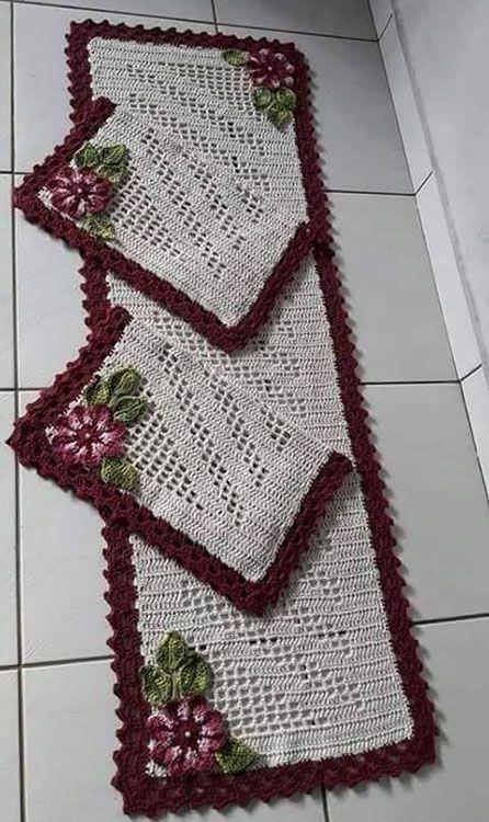 tapete de crochê para cozinha - tapete com flores