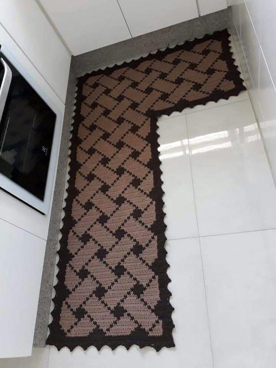 tapete de crochê para cozinha - tapete em L