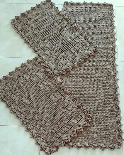 tapete de crochê para cozinha - tapete escuro simples