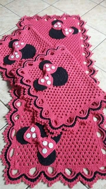 tapete de crochê para cozinha - tapete rosa da minnie