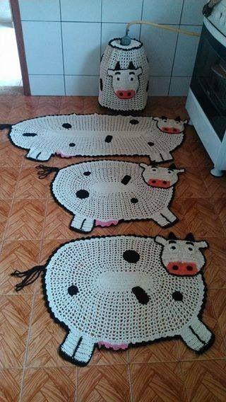 tapete de crochê para cozinha - tapetes de vaca