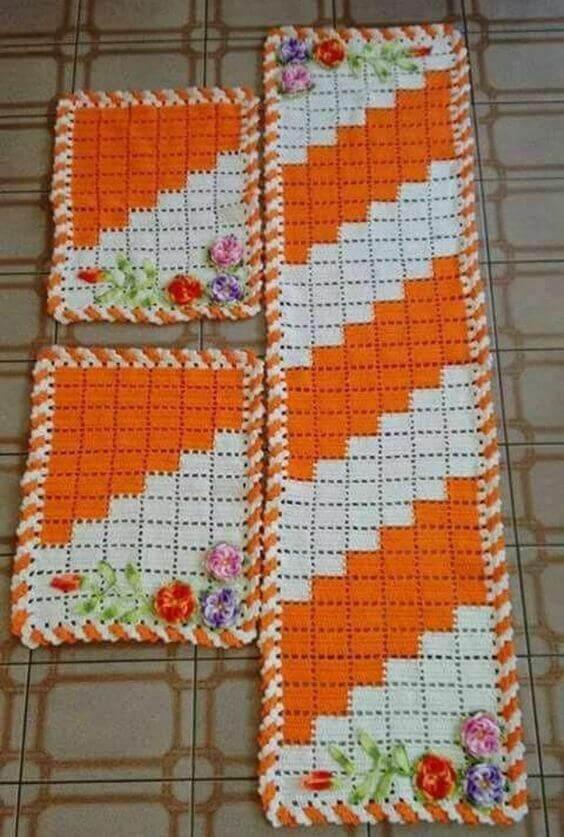 tapete de crochê para cozinha - tapetes laranjas