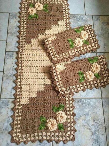 tapete de crochê para cozinha - tapetes marrom claro e escuro