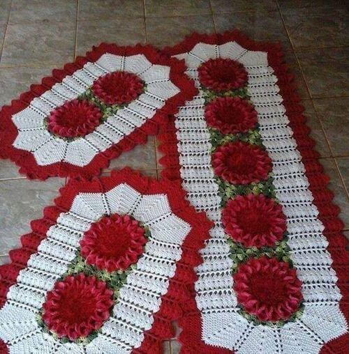 tapete de crochê para cozinha - tapetes vermelhos com flores grandes