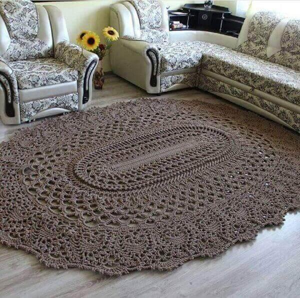 Artesanatos em geral Tapete de barbante marrom em crochê para sala