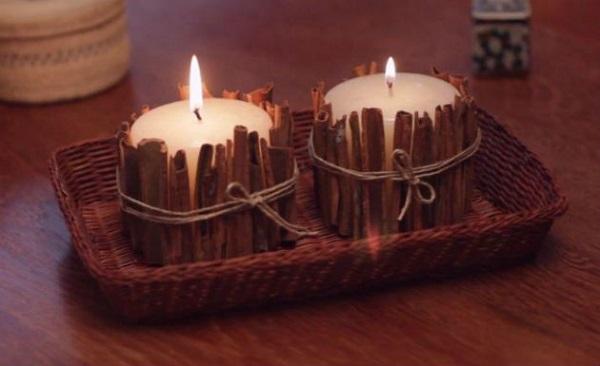 Artesanatos em geral com velas e canela