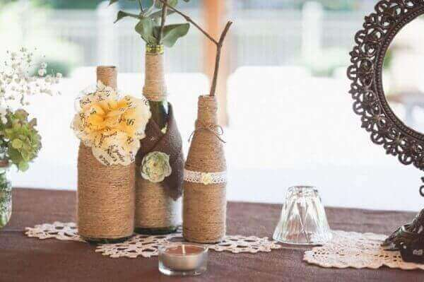 Artesanatos em geral garrafas com barbante