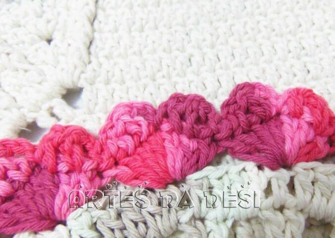 Bico de crochê carreira única em tons de rosa Foto de Artes da Desi