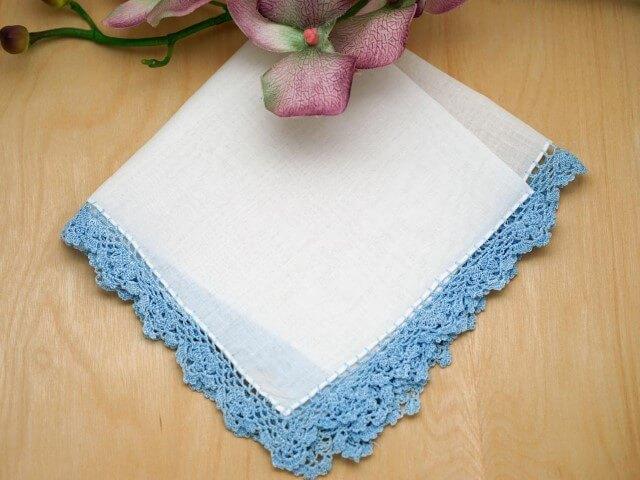 Bico de crochê para pano de prato azul em toda a peça Foto de Bumblebee Linens