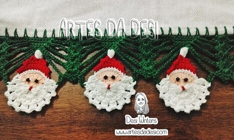 Bico de crochê para pano de prato temático do natal Foto de Artes da Desi