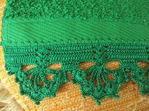 Bico de crochê para toalha verde Foto de Pinterest
