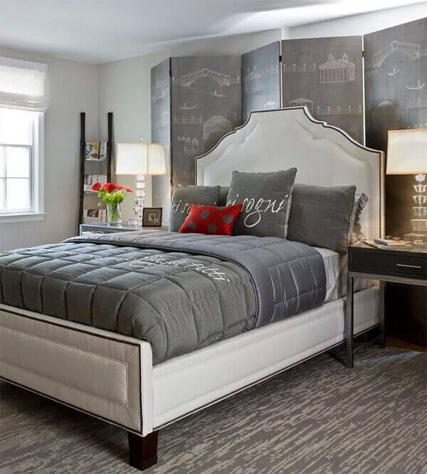 Biombo para decoração de quarto de casal cinza