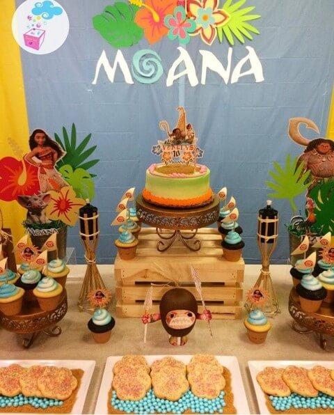 Cupcakes com tema de mar em festa Moana Foto de Pinterest