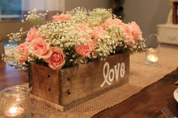 Engagement decoration wooden box with flowers